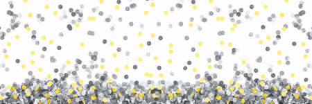 Banner of yellow anf gray confetti isolated on a white background. Top view. Copy space. Imagens