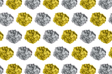 Pattern made fromyellow and gray beautiful peony flower isolated on white background. Imagens