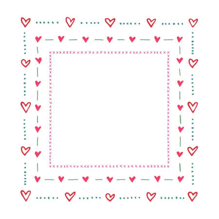 square frame border made of hand drawn hearts and doodles. Cute and romantic, perfect for Valentine's day greeting. 矢量图像