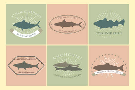 mackerel: Set of canned fish labels with fishes silhouettes. collection made in retro style. Logos, badges and design elements. Perfect for food and fishing industry.