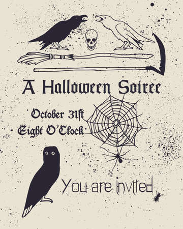 Halloween invitation card. collection of hand drawn creepy and comic images. Beautiful design elements.