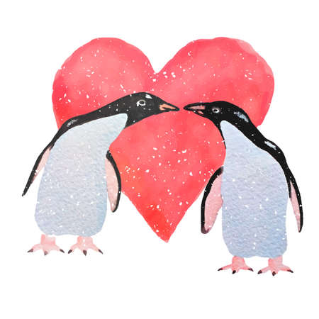 card with hand painted watercolor penguins standing against the background of big red watercolor heart. Cute and romantic illustration of pair in love. Perfect for Valentine's day greeting. Illustration