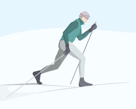 雪に覆われたバックカントリーを滑るスキーヤーのイラスト。冬のレクリエーション活動、スポーツのイラスト。広告デザイン要素です。
