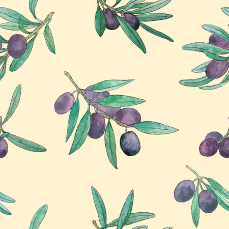 seamless pattern with hand painted watercolor olive branches. Beautiful design elements, perfect for prints and patterns.