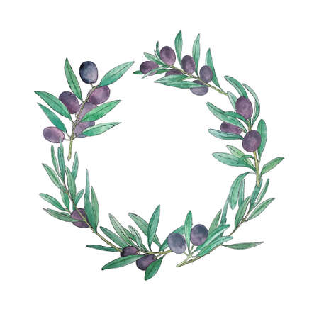 round frame made of olive branches painted by hand in watercolor. Beautiful design element, perfect for any business related to the food industry.