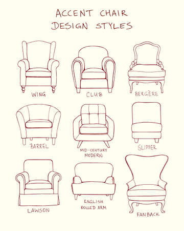 mid century modern: Vector visual guide of accent chair design styles.