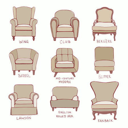 mid century: Vector visual guide of accent chair design styles.