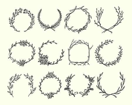 drenado mano de la corona hecha en el vector. Hojas y flores guirnaldas. Románticas elementos de diseño floral.