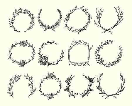 circle flower: Hand drawn wreath set made in vector. Leaves and flowers garlands. Romantic floral design elements.