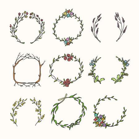 Hand getrokken krans set gemaakt in vector. Bladeren en bloemenkransen. Romantische bloemenontwerpelementen.