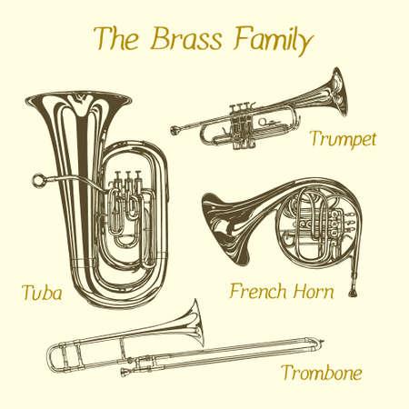 Illustrazione vettoriale di strumenti familiari in ottone disegnati a mano. Bello disegno ad inchiostro di tuba, tromba, trombone e corno francese. Vettoriali
