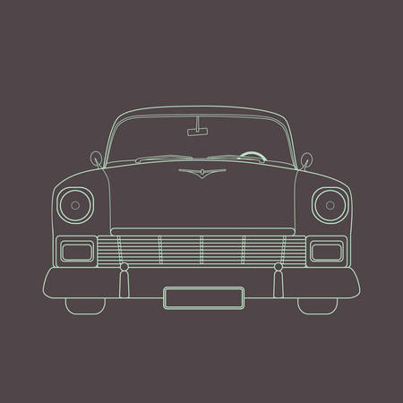old timer: Simple retro car illustration made in vector in flat style
