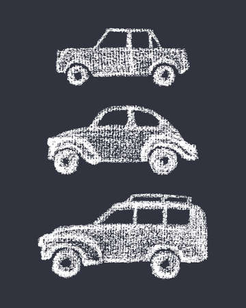 old timer: Vector illustration of hand drawn vintage car set. Hand drawn with chalk retro cars. Beautiful design elements, perfect for nursery. Illustration