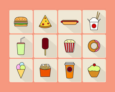 unhealthy diet: Vector fast food icon set. Stylized images of burger, hotdog, donut, french fries and other fast food types. Square layouts, rounded corners, thin outlines, bright colors. Minimalist design style.