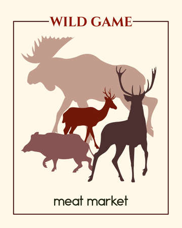 big game: Vector meat market banner with big game silhouettes made in retro style. Illustration