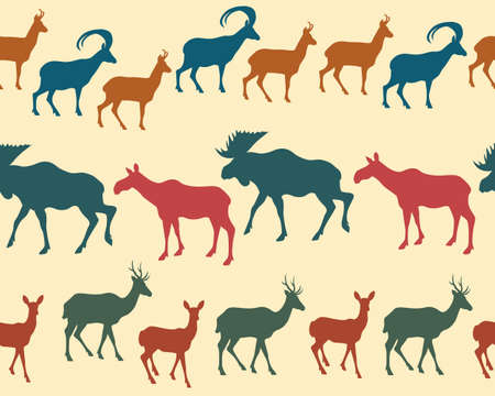 fabric patterns: Vector seamless pattern with big game silhouettes. Illustration