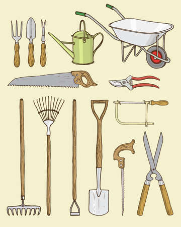 Vector card with hand drawn garden tools. Beautiful design elements.