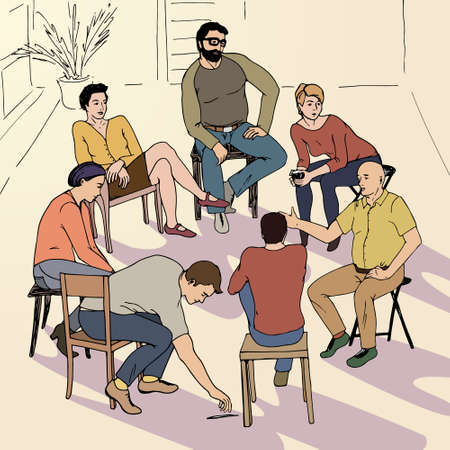 terapia grupal: dibujado a mano ilustración de la terapia de grupo hecho en vector