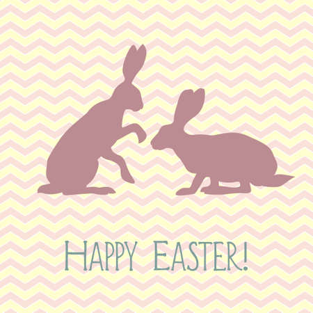 chevron background: Vector Easter celebration card with two sitting hare silhouettes on chevron background. Illustration