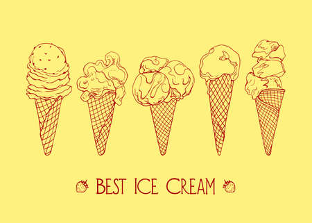 Vector graphic set of hand drawn ice cream. Beautiful design elements for pastry shop, ice cream parlors, cafes or any other business related to the catering.
