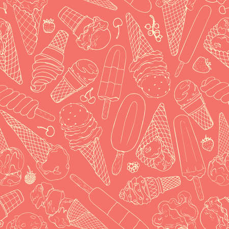 Vector seamless pattern with hand drawn ice cream. Beautiful design elements for pastry shop, ice cream parlors, cafes or any other business related to the catering. Vector Illustration