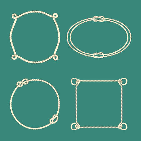 overhand: Vector collection of frames made of tied ropes. Beautiful design elements. Illustration