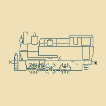 old timer: Retro locomotive silhouette made in vector.
