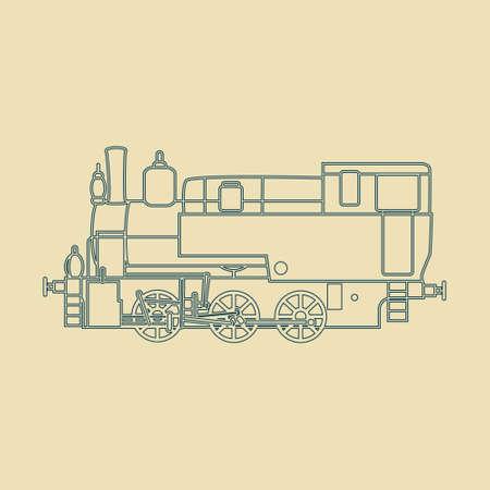 reise retro: Retro Lokomotive Silhouette in Vektor. Illustration