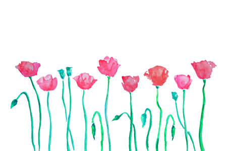 hand painted: Romantic card with hand painted watercolor poppies made in vector