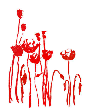 hand painted: Romantic vector card with hand painted poppies with stamp effect
