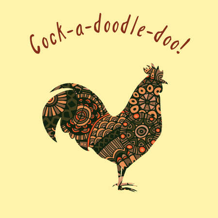 cockscomb: Vector doodle patterned cock with Cock-a-doodle-doo inscription made in retro style.