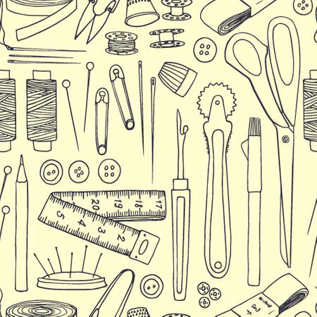 webbing: Vector seamless pattern with hand drawn sewing tools. Beautiful design elements, perfect for prints and patterns.