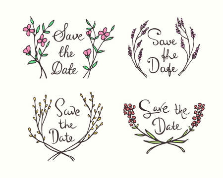 written date: Vector wedding invitation graphics. Vector collection of hand drawn floral wreath with hand written inscription Save The Date. Beautiful floral wedding design.