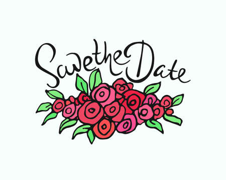 written date: Vector wedding invitation graphics. Vector card witn hand drawn floral garland with hand written inscription Save The Date. Beautiful floral wedding design. Illustration