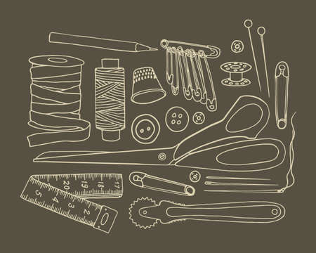 webbing: Vector graphic set of hand drawn sewing tools. Sewing kit illustration. Beautiful design elements.