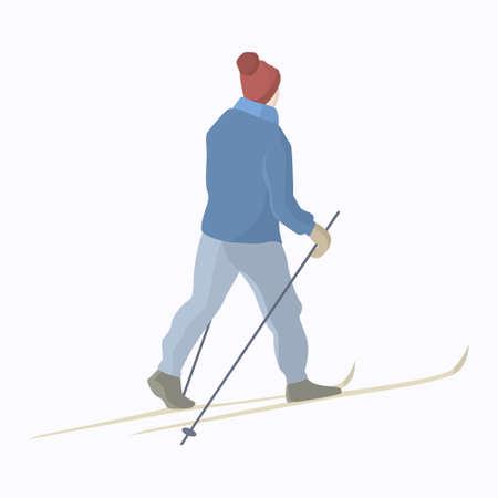 雪に覆われたバックカントリーを滑るスキーヤーのベクター イラストです。冬のレクリエーション活動とアクティブなライフ スタイルの図。広告デ