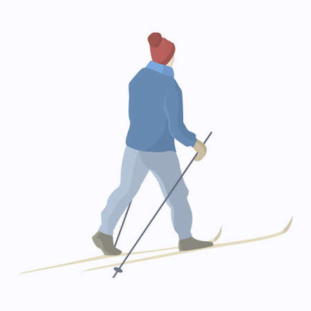 snowcovered: Vector illustration of a skier gliding on a snow-covered backcountry. Winter recreational activities and active lifestyle illustration. Advertising design elements. Illustration