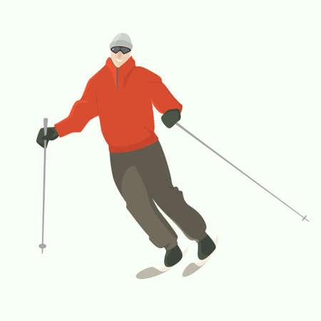 下り坂のスキーヤーのベクター イラストです。冬のレクリエーション活動、スポーツのイラスト。広告デザイン要素です。  イラスト・ベクター素材