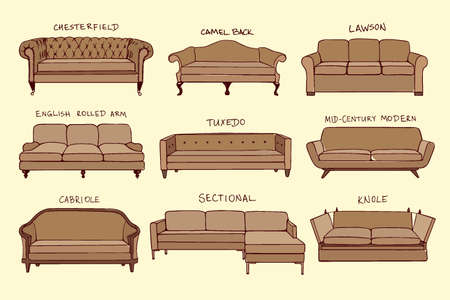 Vector visuele gids van de bank ontwerp stijlen. Hand getrokken bankstel in lineaire stijl. Mooi design elementen, perfect voor elk bedrijf met betrekking tot de meubelindustrie.