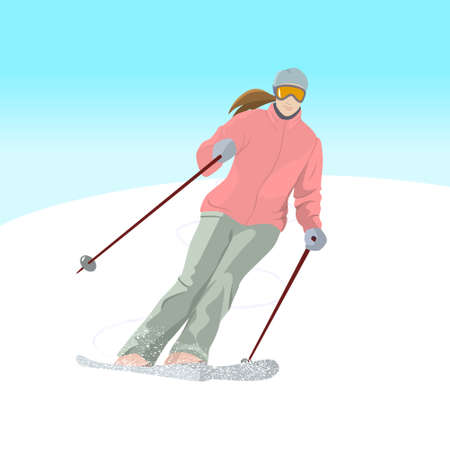 Vector illustration of a skier on downhill. Winter recreational activities and sport illustration. Advertising design elements.