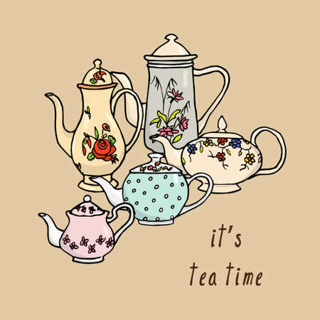 five o'clock: Vector tea time card with hand drawn vintage tea pots.