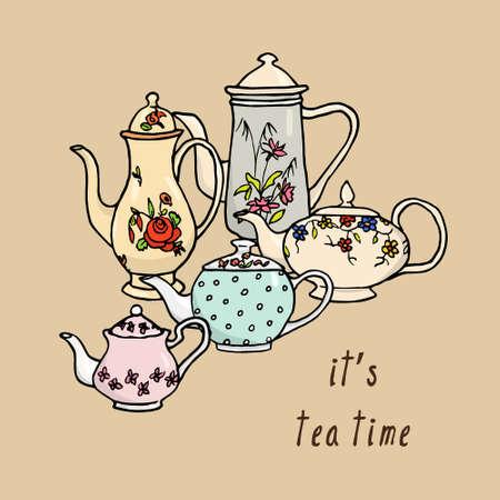 o'clock: Vector tea time card with hand drawn vintage tea pots.