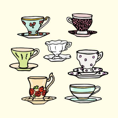 five o'clock: Vector illustration of hand drawn vintage tea cups. Illustration
