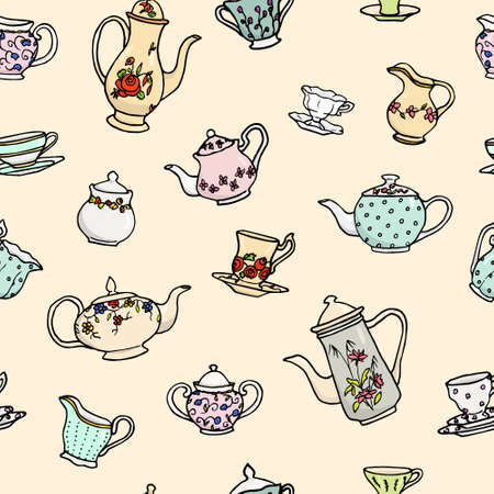 Vector seamless pattern with hand drawn vintage tea pots, cups, sugar bowls and milk jugs. Cute design elements, perfect for prints and backgrounds. Ilustração