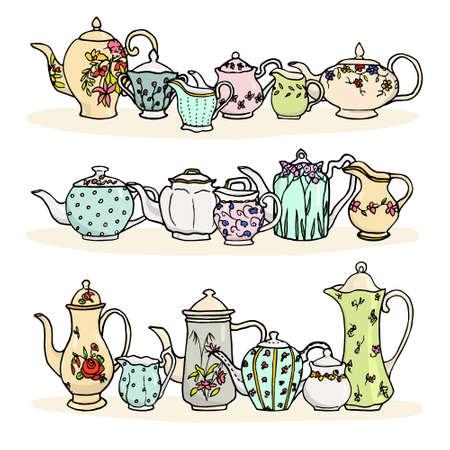 Vector illustratie van vintage thee dingen. Hand getrokken porselein theepotten, suiker kommen en melkkannen. Stock Illustratie