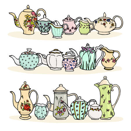 Vector illustration of vintage tea things. Hand drawn porcelain tea pots, sugar bowls and milk jugs.