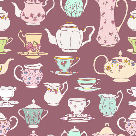 Vector seamless pattern with hand drawn vintage tea pots, cups, sugar bowls and milk jugs. Cute design elements, perfect for prints and backgrounds. Illustration