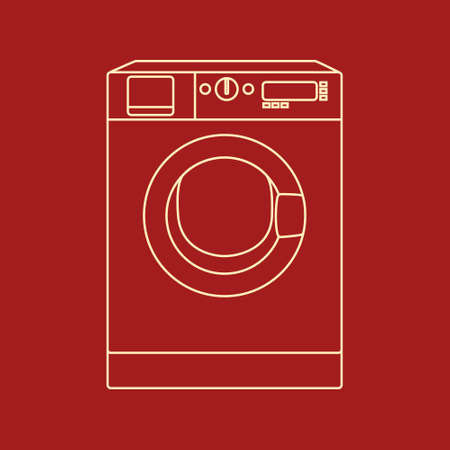 washing powder: Vector icon of washing machine. Made in simple flat style. Warm vintage colors. Household appliances illustration and design element.