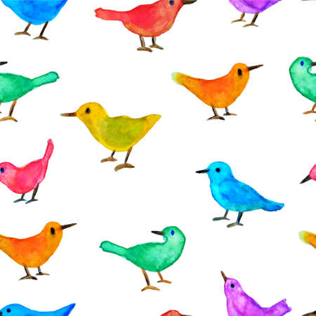 playschool: Vector seamless pattern with hand painted watercolor birds. Vector graphics in childish style. Perfect for prints and patterns to use in nursery. Illustration