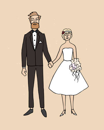 twosome: Vector illustration of hand drawn happy bride and groom holding hands.